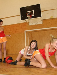 Lesbian sports team love kissing during a horny sex game