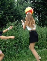 Two pretty teenage lesbians enjoy pleasuring each other