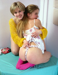 Two horny teen cuties stuffing big toys in tight vagina