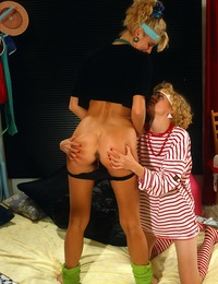 Handsome teen blonde sweethearts massaging their wet clits