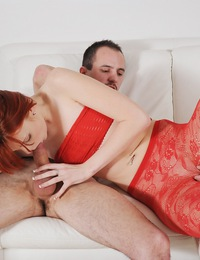 Sexy Red Lingerie Enhances Maggies Blowjob Skills