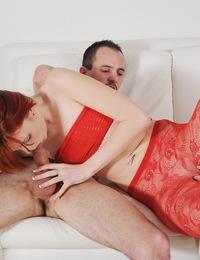 Sexy Red Lingerie Enhances Maggies Blowjob Skills